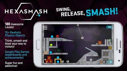Взломанная Hexasmash Pro - Wrecking Ball Physics Puzzle (Много монет) на Андроид